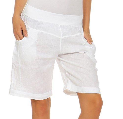 Mississhop Bermudas de lino para mujer  pantalones cortos sueltos  pantalones cortos para el tiempo libre  100 % lino  elegantes pantalones harén con botones  verano o playa Blanco 40