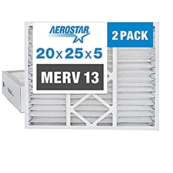 Aerostar 20x25x5 MERV 13 Pleated Replacement Air Filter for Honeywell AC Furnace Air Filter 2 Pack  Actual Size  20 x24 3/4 x4 3/8