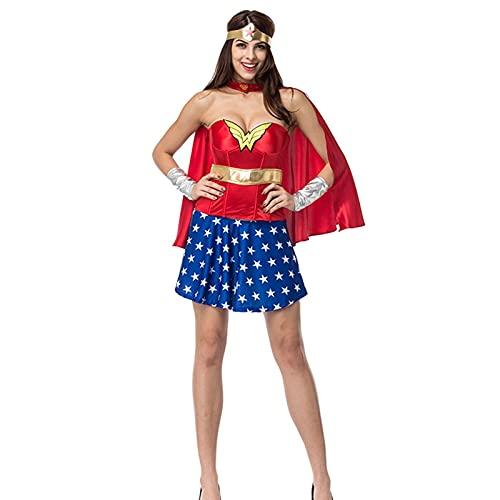 Yokbeer Disfraz de Wonder Woman para Mujer Talla Mujer Maravilla, Superhéroes, Liga de La Justicia (Color : Red, Size : L)
