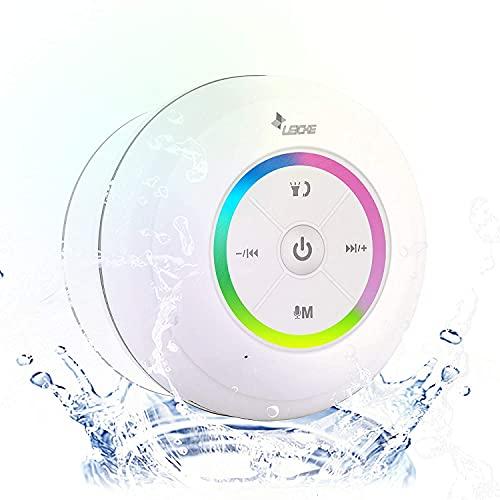 LEICKE Bluetooth Lautsprecher DJ Roxxx Shower | Staub-/Dampf-/Wasserdichter Duschlautsprecher mit Saugnapf | Portable Wireless Speaker Kompatibel mit Siri (iOS) Apple Home Kit und Google-Assistant
