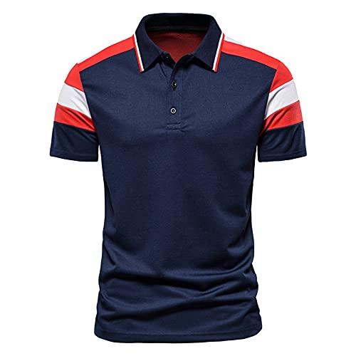 CFWL Bloque De Color De La Moda De Los Hombres del Verano Que Cose La Camisa De Polo De La Camiseta De Solapa...