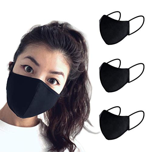 Forte 3 Layer Reusable Protective Cotton Mask with Filter Pocket (Black, 3 Pack Medium)