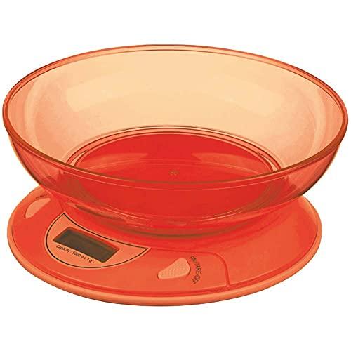 Bakaji Bilancia da Cucina per Alimenti Digitale Elettronica con Ciotola Contenitore da 1 Lt Portata Massima 5 KG Sensibilità 1gr Display LCD Spegnimento Automatico (Arancione)
