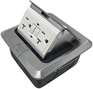 Pop Up Countertop Box Flor Outlet w/20A GFI Receptacle Electric Outlet - Brushed-Stainless Finish