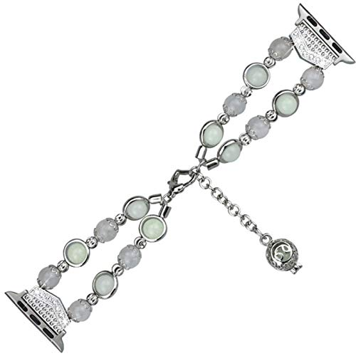 Correa luminosa para mujer para iWatch Band Series SE 6 5 4 3 2 Pulsera de metal brillante con cuentas de perlas con colgante de almacenamiento de aceite esencial / perfume-Plata, 44 mm