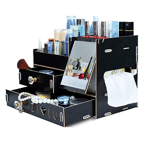 Boîte de rangement cosmétique De Bureau Boîte De Rangement pour Bijoux À Tiroir Élégant Support De Rangement Multicouche Grand Espace De Rangement (Color : Black)