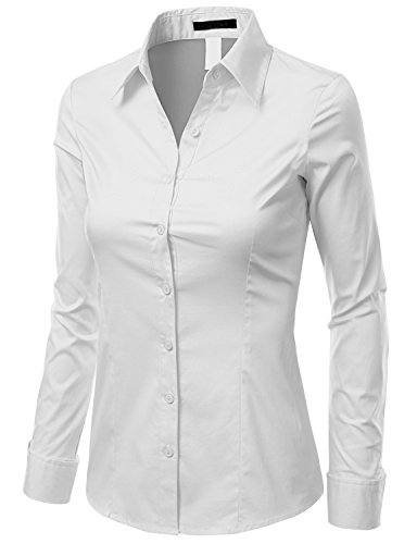 Doublju Slim Fit Cotton Blend Button Down Collared Shirt For Women With Plus Size WHITE MEDIUM