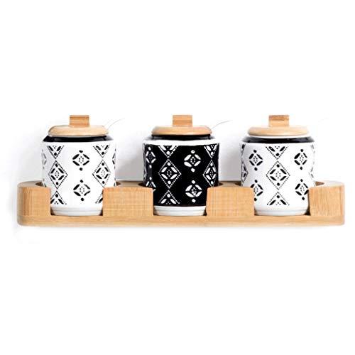 lqgpsx Caja De Condimentos, Caja De Especias Caja De Condimento De La Cubierta Creativa Caja De Madera Hogar Olla De Sal Bambú Conjunto De CombinacióN De TiróN De Bambú