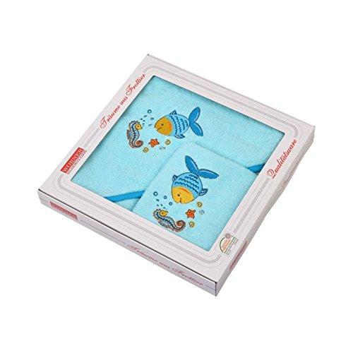 Mauz by wörner bébé poisson mint «bavoirs, serviettes de bain et gant de bain poncho, Vert menthe, Geschenk-Set 80x80cm
