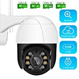 1080P Wireless CCTV Security Camera, 4X Zoom Outdoor PTZ IP Surveillance Camera with SD Card Two Way Audio Night Vision Motion Detection Black,16G