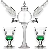 Absinthe Set - Glass Pearl Bubble Fountain Dripper with 2 Spouts, Absinthe Dripper Set, Complete with 2 Reservoir Pontarlier Glasses and Sugar Spoon Set