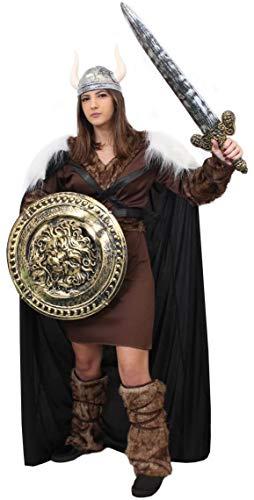 Disfraz de disfraz de lujo para mujer, de Túnico marrón + gorro + casco de plata + espada y escudo (pequeño)