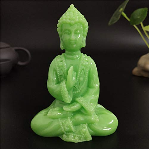 YURASIKU Glowing Meditation Buddha Statue Stone Thai Buddha Figurines Sculpture Luminous Home Garden Decoration Statues