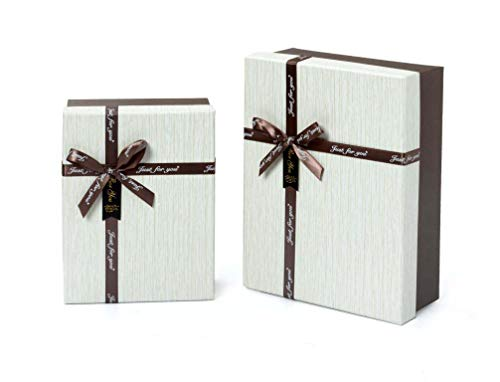 Idena 30253 - Set di 2 scatole Regalo, FSC-Mix, Marrone Scuro-Bianco, Confezione Regalo