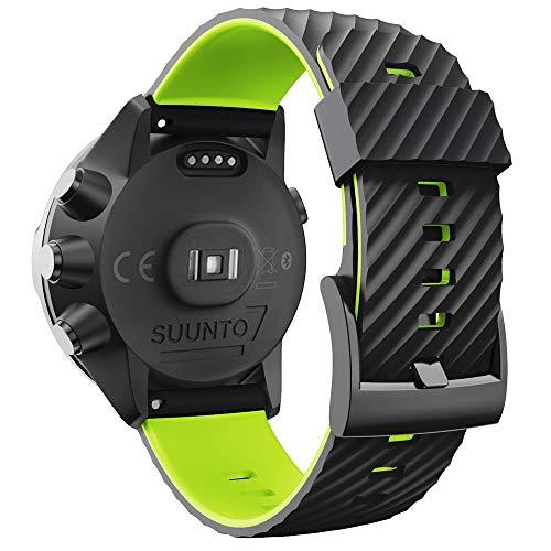 WIIKAI Armband Ersatzarmbänder kompatibel für suunto 7/9/9 baro/Spartan Sport/D5 Silikon Ersatz Uhrenarmbänder.(Schwarz + Grün)