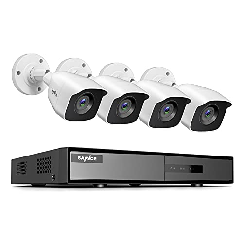 SANNCE 8CH 1080p Security Camera System 5-in-1 CCTV DVR Recorder with 4X Waterproof Wired Surveillance Cameras with 100 ft Night Vision, Motion Alert, Remote Access (No Hard Drive)