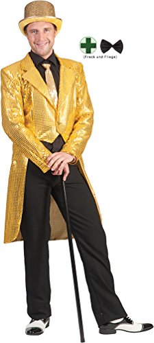 Karneval-Klamotten Frack Pailletten Herren Frack Herren Gold MIT Fliege schwarz Silvester Herren-Kostüm