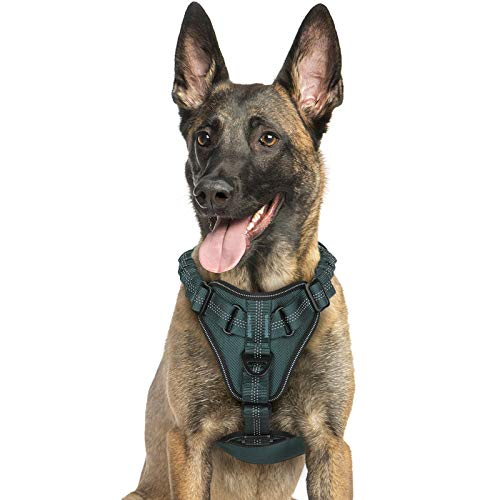 rabbitgoo Hundegeschirr für mittlere Hunde Anti Zug Geschirr, No Pull verstellbares Brustgeschirr, weiches reflektierend Dog Harness mit Griff (Armeegrün, L)