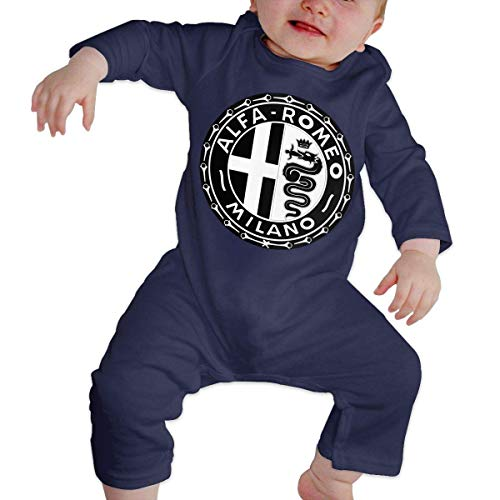 maichengxuan Baby Boy Girl O-Neck Long-Sleeve Romper Alfa Romeo Auto Logo Funny Crawling Suit Black