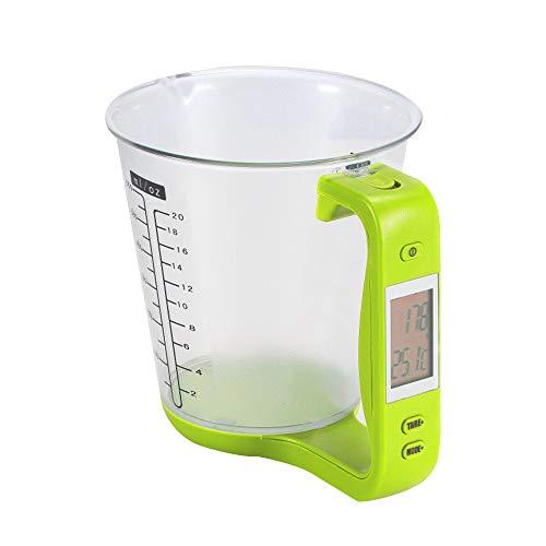 XQK Vaso De Digital Digital De Vidrio De Electrónico De Alta Capacidad con Pantalla LCD para Leche, Agua, Líquidos, Alimentos, Verduras (Verde)