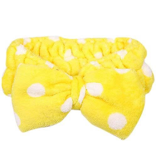 U/K EinfacheFrauen waschen elastischen Bogen Handtuch Kopf Badetuch Mode Korallen Fleece Bowknot Haarschmuck Make-up kosmetische weiche Stirnband gelb kostengünstig und langlebig