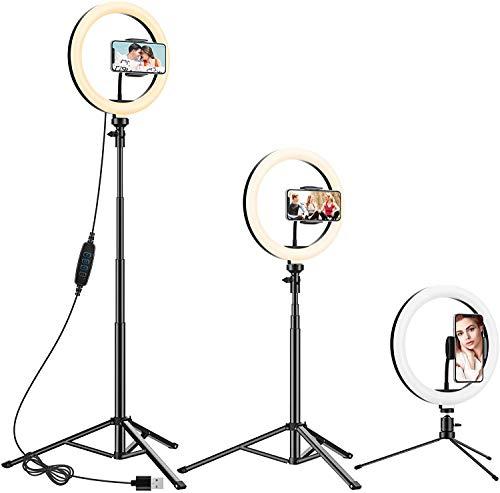 10.2' Ring Light avec 2 Trépied, Anozer Anneau Lumineux Réglable d'eclairage Video, Lampe Photo pour Téléphone/Appareil Photo Professionnel/Caméra Vidéo Youtube/Maquillage/TikTok/Camera Vlog/Selfie