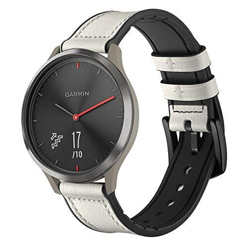 XZZTX Compatible avec Les Bracelets Vivomove HR de Garmin, Bracelets de Remplacement en Cuir véritable de 20 mm pour Montre Intelligente Vivoactive 3 / Vivomove HR