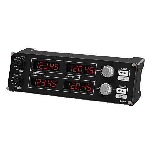 Logitech G Saitek Pro Flight Radio Panel, Radioschalttafel für Flug Simulatoren, 4 Separate LED-Anzeigen mit Reglern, USB-Anschluss, Modular und Anpassbar, PC - schwarz