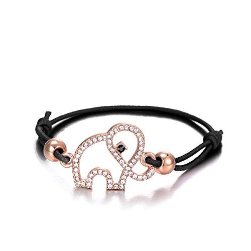 Ouran Frauen Bettelarmband Lucky Elephant Armband Knoten Freundschaft Armreif Schwarz Verstellbare Manschette Armband mit Kristall (Roségold)