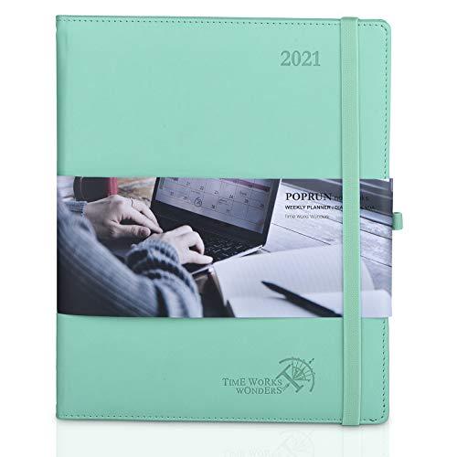 Agenda 2021 Settimanale ca. A4 - Copertina Rigida in Pelle Vegana, Pianificatore 2021 con Pagine di Note e Rubrica, Tasca Interna, Formato XL 21 x 26 cm, Verde