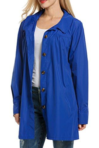 Beyove Damen Funktionsjacke Regenjacke Regenmantel Regenparka Übergangsjacke Wasserdicht Atmungsaktiv Windbreaker Outdoor Mit Kapuze Tasche (EU 42(Herstellergröße: XL), B+Blau)