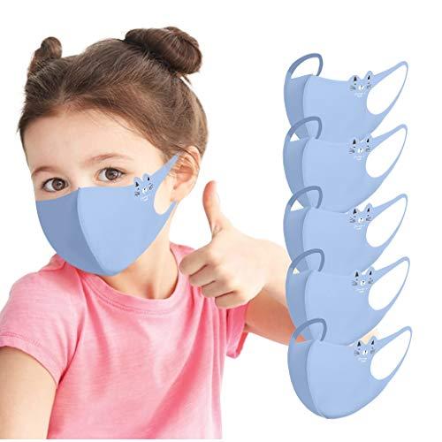 5 Stück atmungsaktive Gesichtsabdeckung für Kinder, Eisseide, waschbar, wiederverwendbar, Anti-Staub-Mundschutz, 3D Anti-Beschlag, Dunst, Gesichtsschutz, nützliches Zubehör für persönliche Pflege (B)