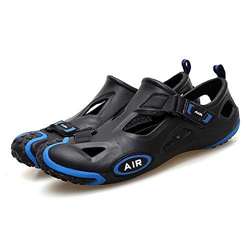 サマースポーツサンダルカジュアルサイクリングシューズ、大きなベント付き、ロックレスマウンテンバイクシューズ、ウェーディングに適したハードソールの滑り止めロードサイクリングシューズ、沢登り、ビーチ,Blue-42