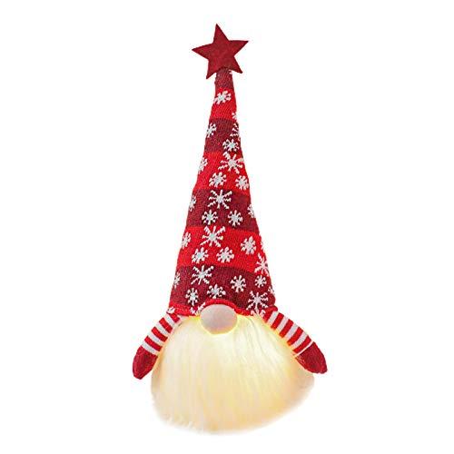 Pohove tmas Gnomo luz con pilas lindo dormitorio durable decoración del hogar nórdico escandinavo ornamentos de peluche muñeca regalo vacaciones sin rostro (rojo)