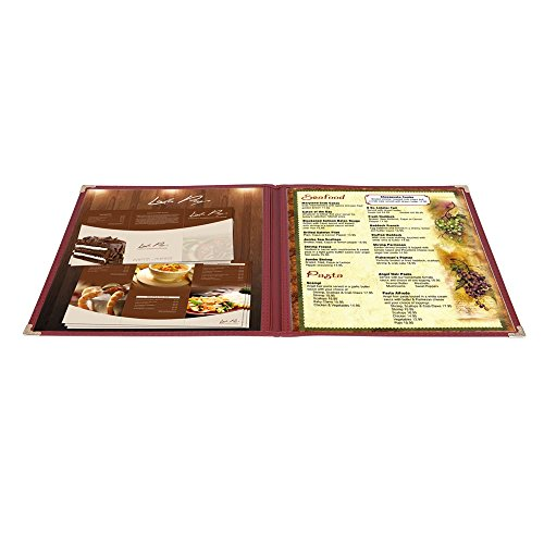 Yescom 30 Pack Deli Food Menu Cover 8.5x11inches 2 Page 4 Views Fold Restaurant Cafe Burgundy Trim