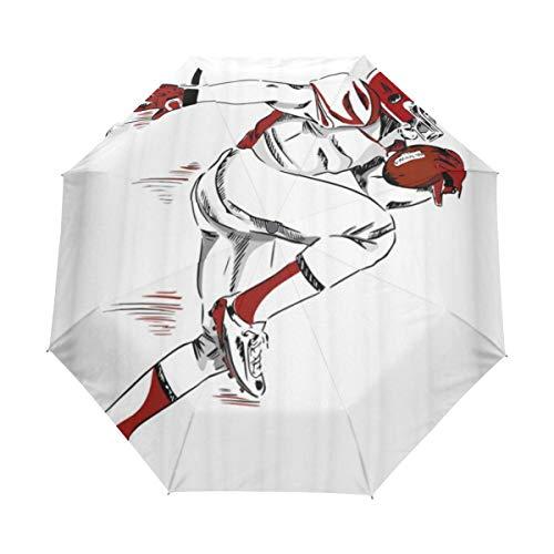 DUILLY Automatischer Regenschirm,Amerikanischer Fußball-Sport-Thema-männlicher Athlet with Helmet und Handschuhe, die laufende Skizze halten,zusammenklappbarer Kleiner Sonnenschirm