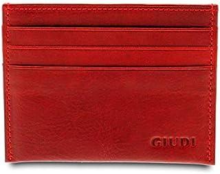 GIUDI ® Portafoglio in pelle vacchetta, vera pelle, uomo donna unisex, portatessere in pelle, Made in Italy (Rosso)