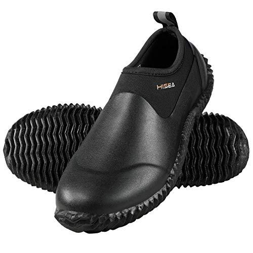 HISEA Unisex Waterproof Garden Shoes Ankle Rain Boots Mud Muck Rubber Slip-On Shoes for Women Men Outdoor Black
