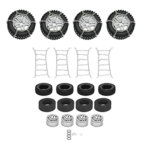 4Pcs / Set Juego de Ruedas y neumáticos de Coche RC con Espuma de Esponja y Cadena de Nieve Compatible con Piezas de actualización de Coche RC MN86 1/12(Plata)