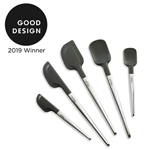 All Clad Silicone Tools 5-Piece Ultimate Set For Cooking, Baking And Serving, Stainless Steel and Black