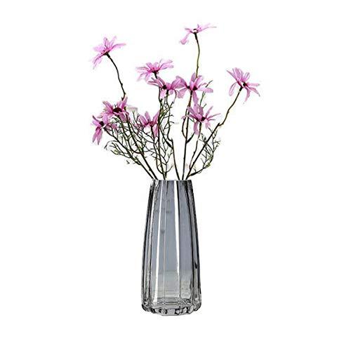 FUBAO Vase de fleurs en verre transparent lourd – 22 cm, grand vase de table en cristal pour maison, jardin, café, décoration de mariage, motif ananas (tigré gris)