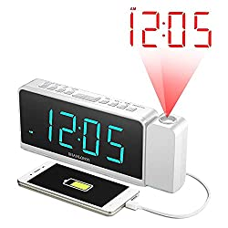 Projection Alarm Clock with AM/FM Radio, 180°Projector, 7 LED Digital Ceiling Display, Easy to Use, Clear Cyan Digit, 3 Dimmer, Digital Alarm Clock with USB Phone Charger, Battery Backup for Bedroom