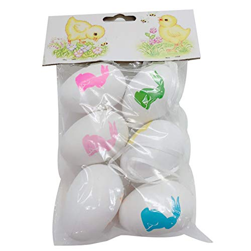 LovePlz - Set di 6 uova pasquali in plastica per uccelli, colombe, uova per bambini, festival, regalo per la casa, per la casa