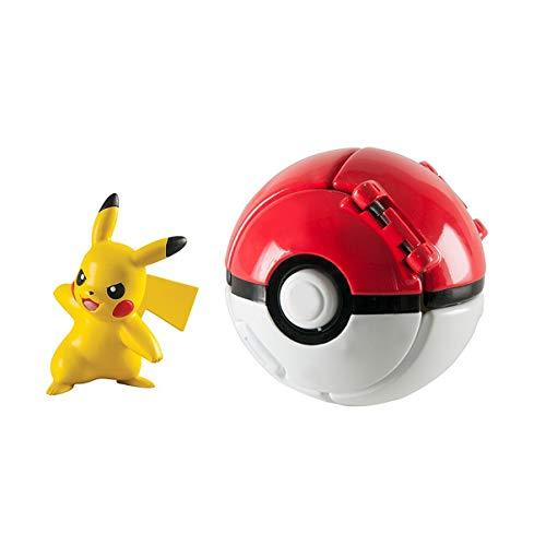 DVNBS Pokémon Lets Go Pokemon Ball and Pokemon Figure Game Action Figure for Children's Toy Set (Pikachu)