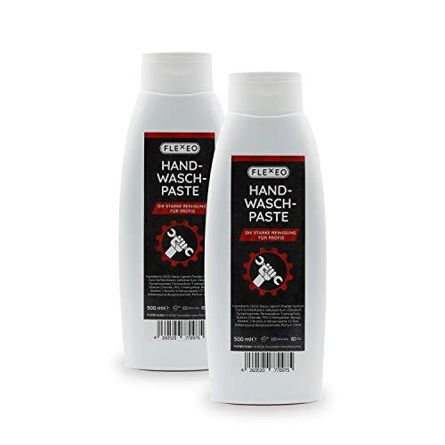 FLEXEO flüssige Handwaschpaste - Profi Handreiniger für die Werkstatt, gründliche Schmutzentfernung im 2er Set, je 500ml Tube