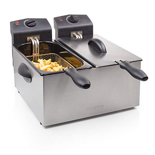 Tristar Edelstahl Doppel-Fritteuse - 2 x 3 Liter, 2 x 1800 Watt, mit Kaltzonenfunktion und regelbarer Heizstufe, FR-6937