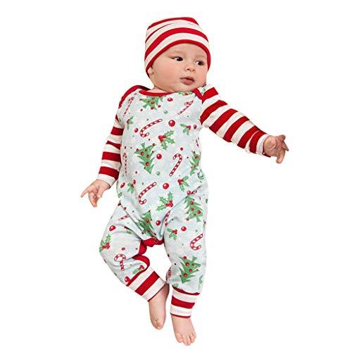 Daoope 0-24 Mesi Abbigliamento Neonato Bambina Natale Pagliaccetto Maniche Lunghe Tuta Vestiti 6-9 9-12 Mesi Bambino Bambini Tutine Autunnale Invernale Natalizia Festa di Famiglia