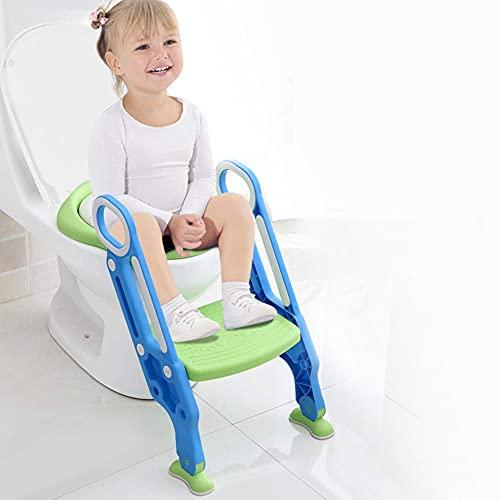 AYNEFY Toilettensitz Kinder mit Treppe Töpfchen Toilettentrainer Faltbar Toilettensitz Verstellbarer Toilettenaufsatz rutschfest Toilettenstuhl mit Höhenverstellbarer Leiter und Griffen, Blau & Grün