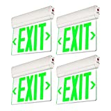 LEONLITE Green LED Edge Lit Exit Sign, UL 924, Emergency Exit Lights with Battery Backup, Hardwired Exit Signs for Business, Rotating Acrylic Clear Panel, Top/Side/Wall Mount, AC 120/277V, Pack of 4