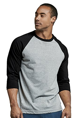 TOP PRO Men's 3/4 Sleeve Casual Raglan Jersey Baseball Tee Shirt (L, Black/Light Gray - 1)